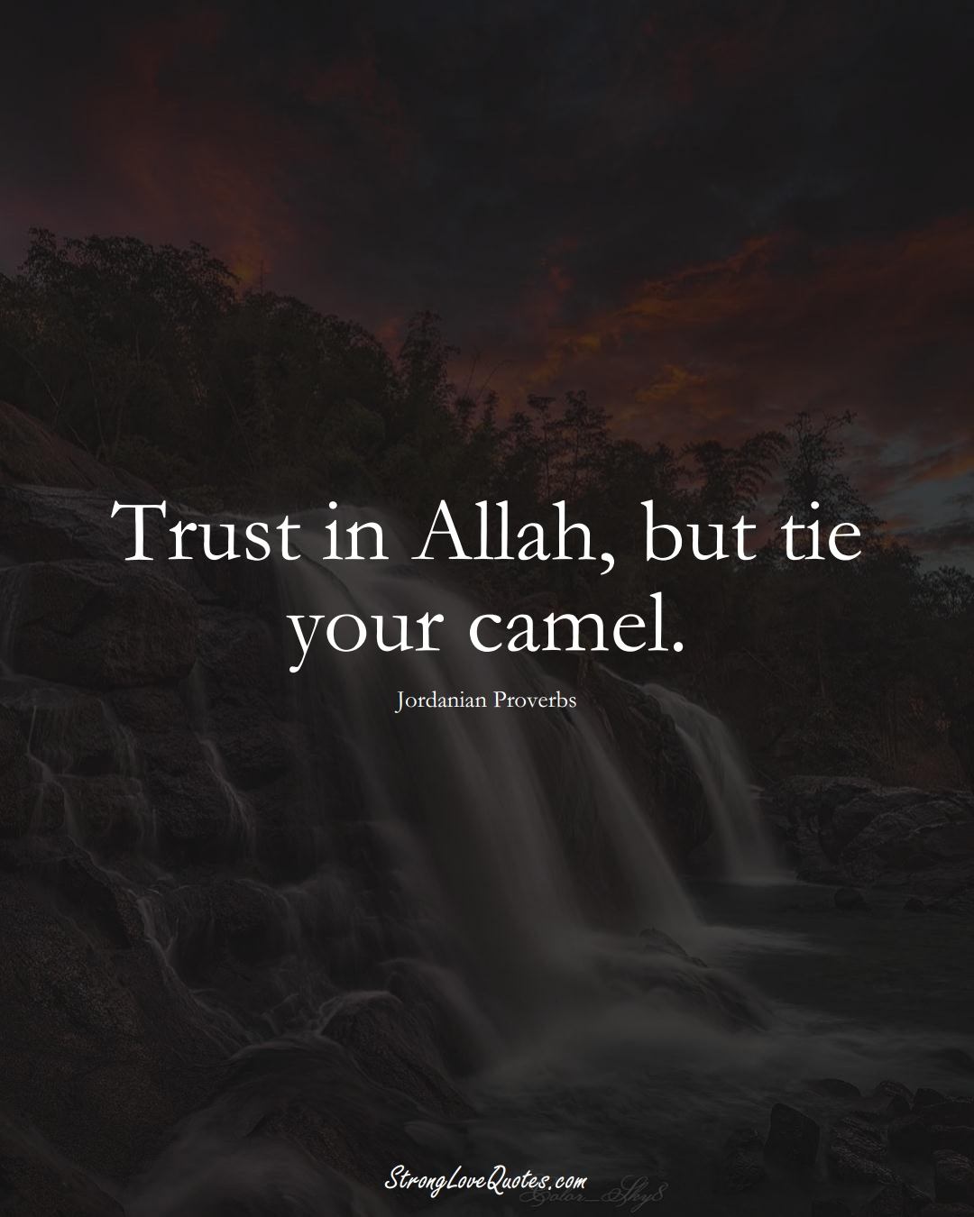 Trust in Allah, but tie your camel. (Jordanian Sayings);  #MiddleEasternSayings