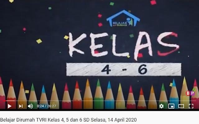 Video Belajar Dirumah TVRI Kelas 4, 5 dan 6 SD, Selasa, 14 April 2020