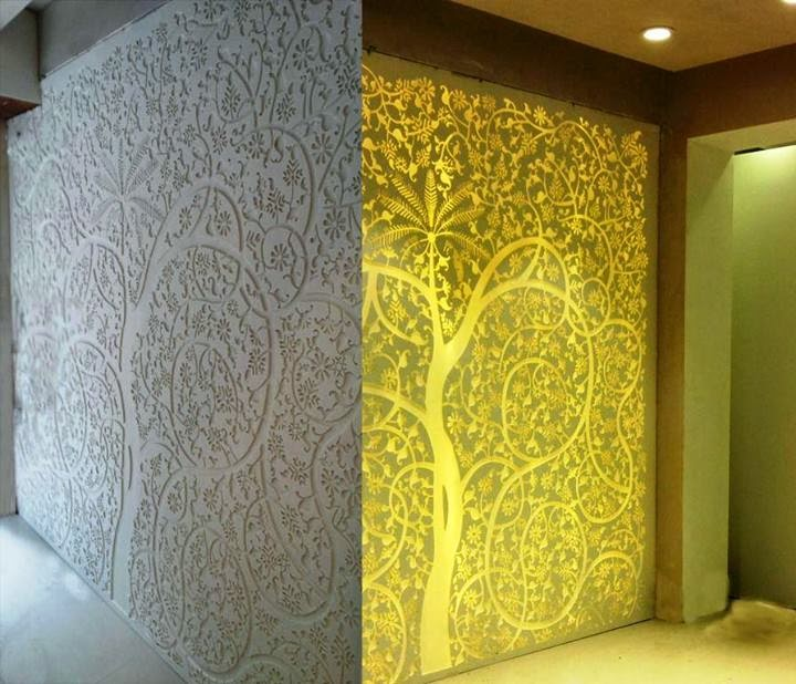 Interior and Exterior: Acrylic and MDF jali.