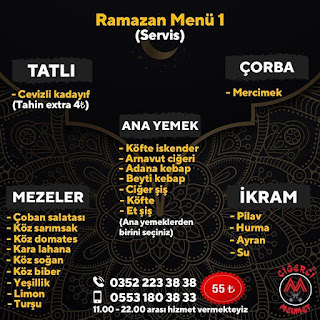ciğerci mehmet kayseri ramazan 2020 iftar menü kayseri iftar menüsü sipariş