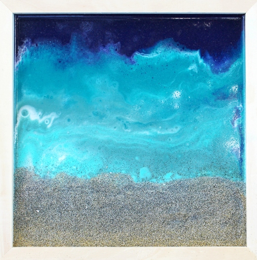 Poured Resin Ocean Beach Sand Art Framed