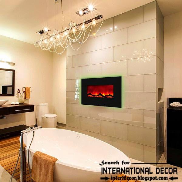 Cozy Interior bathroom with fireplace designs