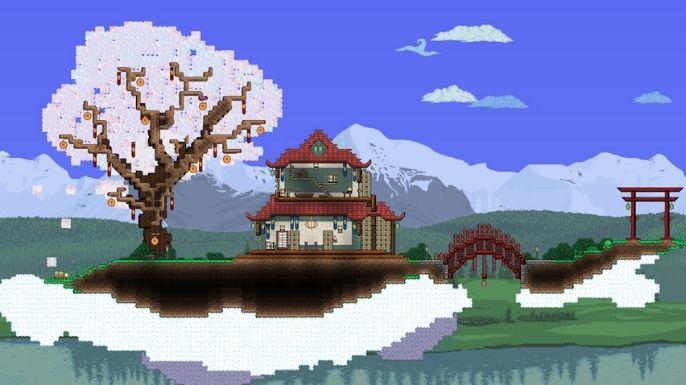 Um plano de fundo com arquitetura japonesa