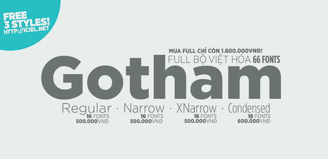 [Sans-serif] Gotham Thin, Medium & Ultra Việt hóa