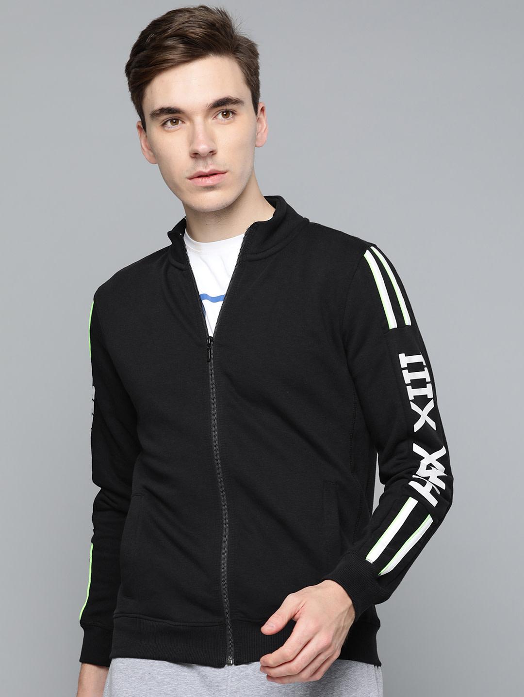 Men Black Solid Training Sweatshirt By HRX