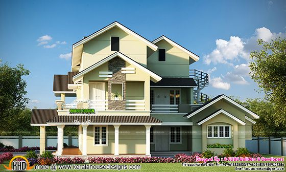 Cute 3 storied Kerala home