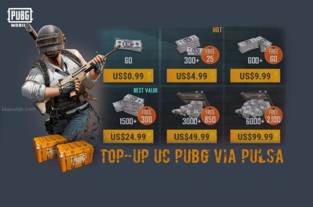 cara top up isi saldo UC pubg mobile menggunakan pulsa semua operator