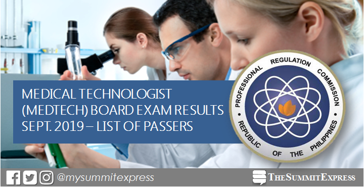 FULL RESULTS: September 2019 Medtech board exam list of passers, top 10