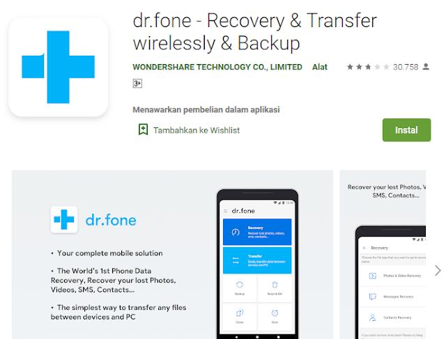 dr fone aplikasi pengembali file di android