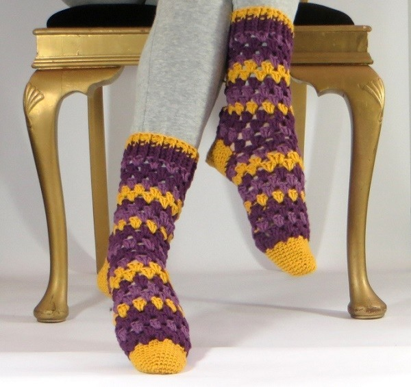 crocheted granny socks
