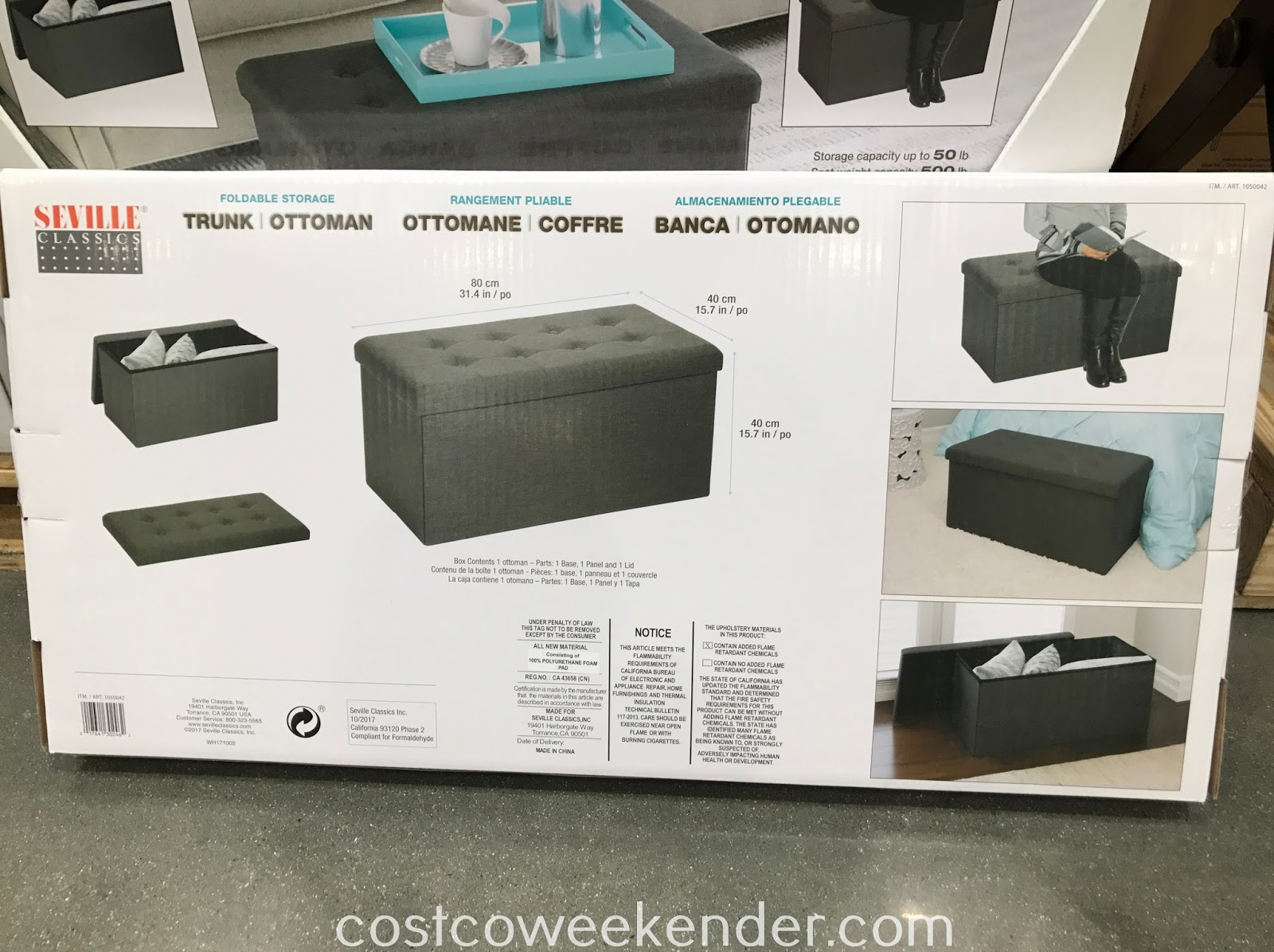 Costco 1050042 - Easily add seating to any room with the Seville Classics Foldable Fabric Storage Bench
