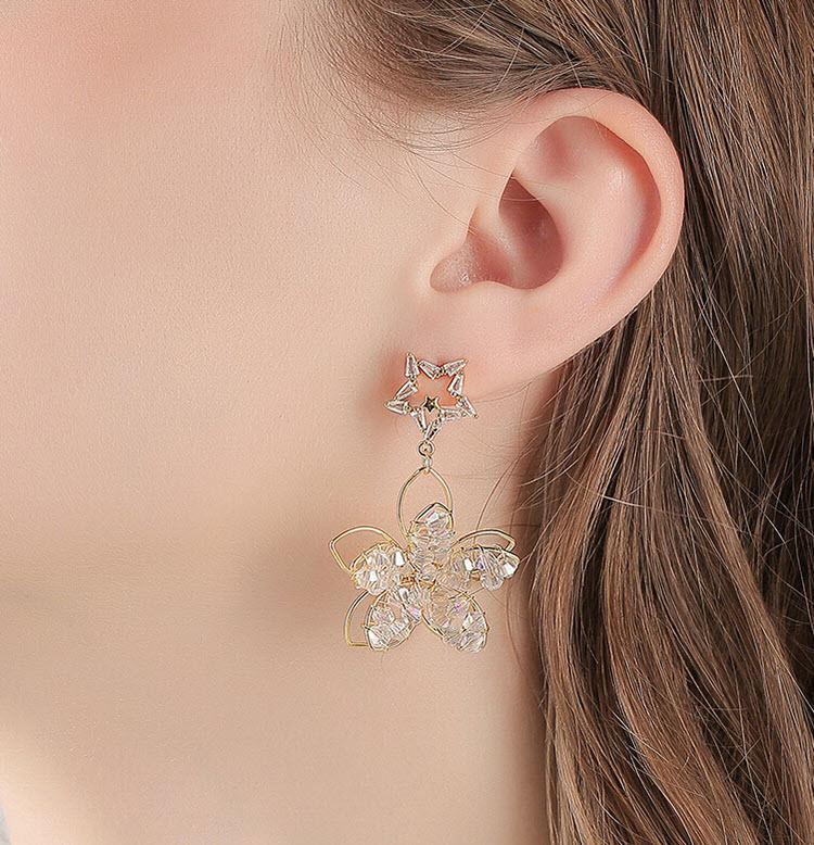手作感立體水晶花朵星星耳環
