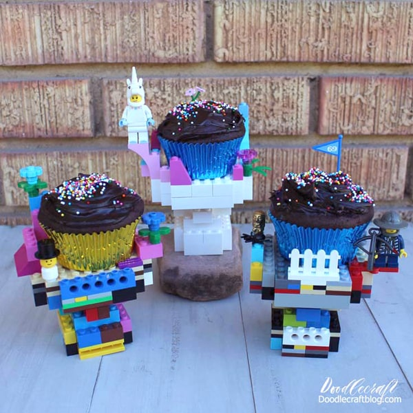 Make darling cupcake stands for a birthday party with bright colors, fun pieces and minifigures