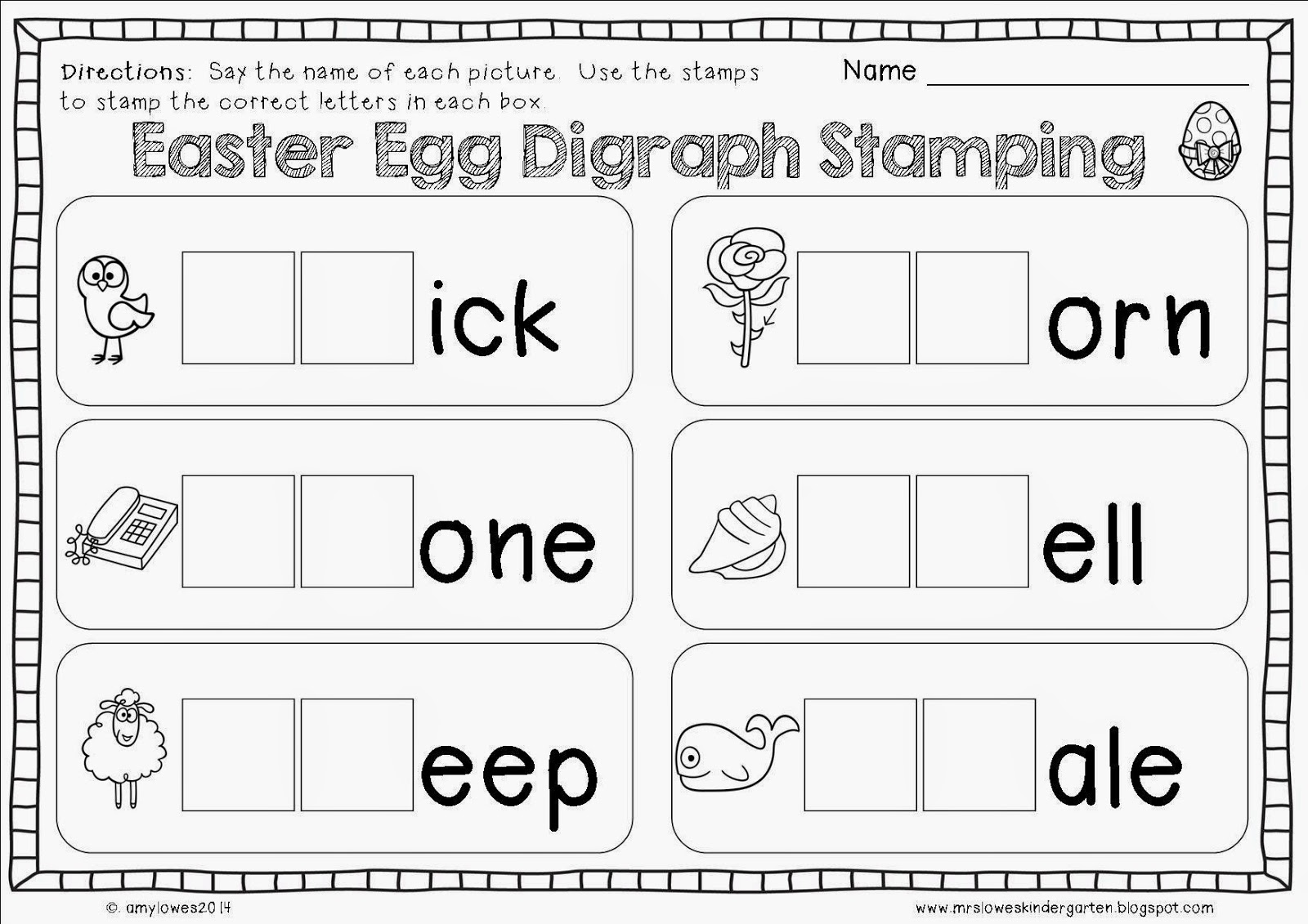 Mrs Lowes Kindergarten Korner No Prep Easter Math And