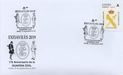 Sobre con el matasellos del 175 aniversario de la Guardia Civil