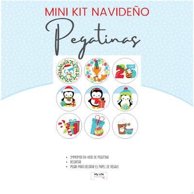 navidad, kit, infantil, imprimir, carta, papa noel, etiquetas, pegatinas, decoracion