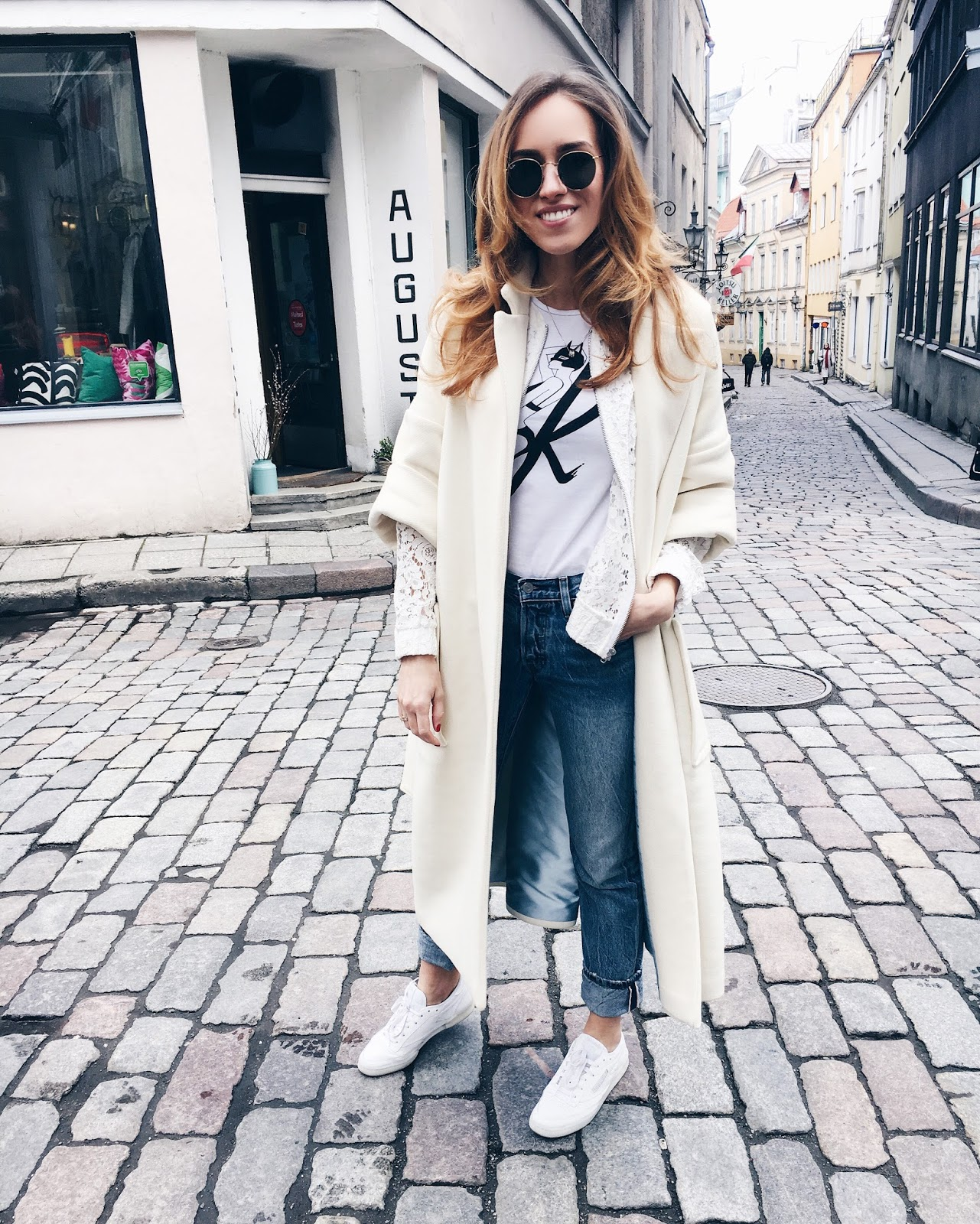 white coat casual minimal outfit