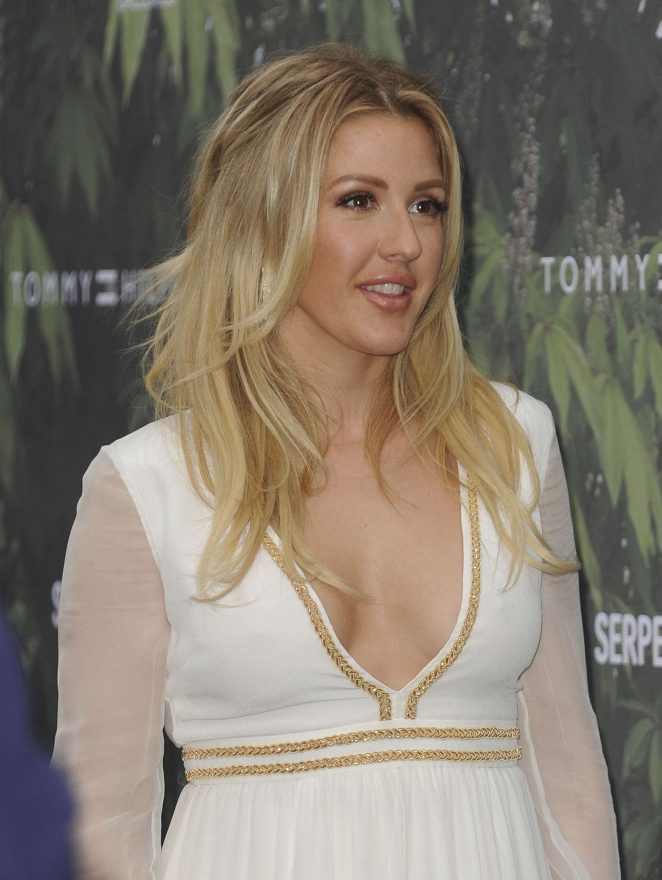 English Singer Ellie Goulding Stills In White Dress
