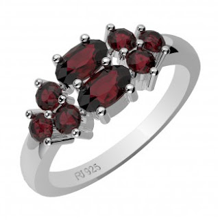 Genuine Garnet Silver Gemstone Ring