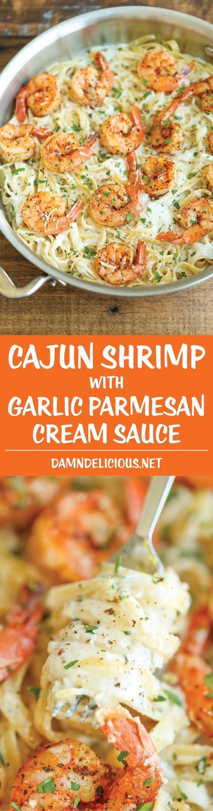 BEST CAJUN SHRIMP WITH GARLIC PARMESAN CREAM SAUCE RECIPE