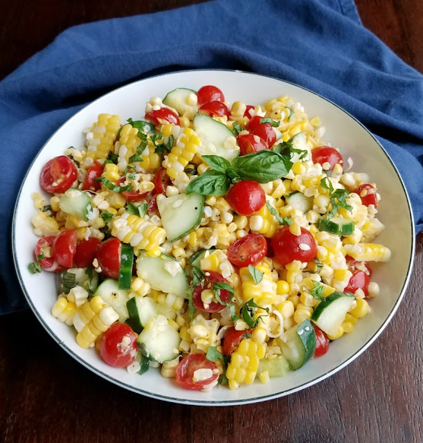 close up of serving bowl with summer corn salad