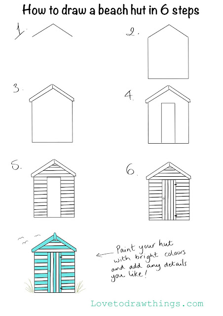 How to draw a beach hut in 6 steps