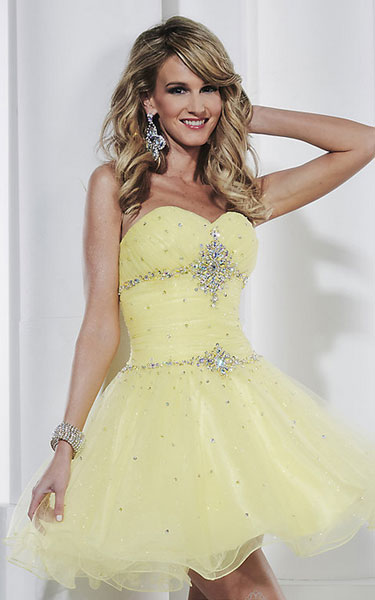 31df6705ec434 Short strapless sweetheart babydoll homecoming dress by Hannah S.  Style:HS-27837. Color:Yellow ,Royal ,Lavender Details:Beaded Details  Fabric:Glitter Tulle