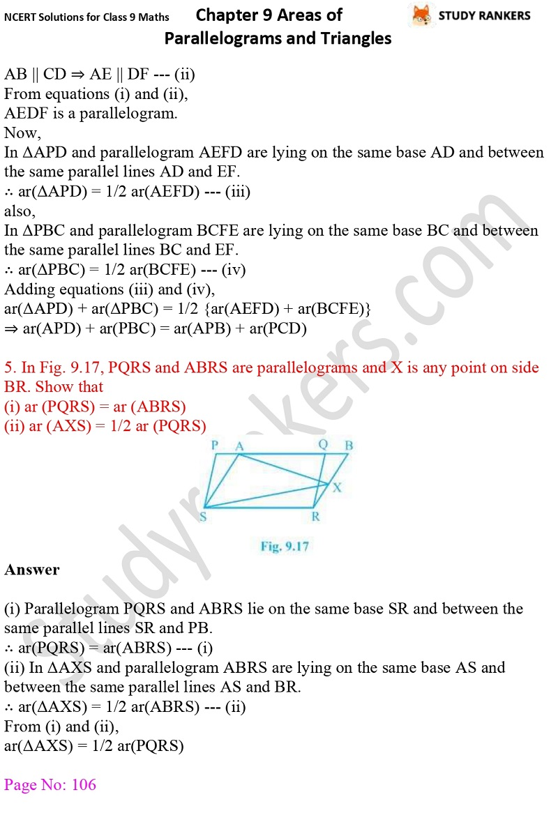 NCERT Solutions for Class 9 Maths Chapter 9 Areas of Parallelograms and Triangles Part 5