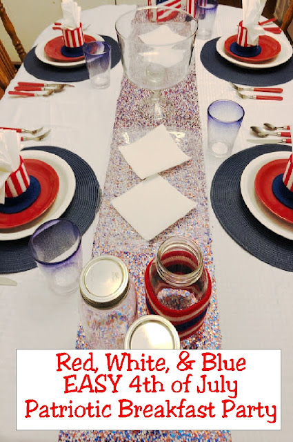 Get your family read for the busy 4th of July holiday by starting out the day with a fun and easy Patriotic breakfast party. Simply set the table the night before with these colorful patriotic ideas and the next morning it's a snap to eat and get out the door in a good and festive mood. #patrioticparty #4thofJulyBreakfast #EverydayPartiesBlog