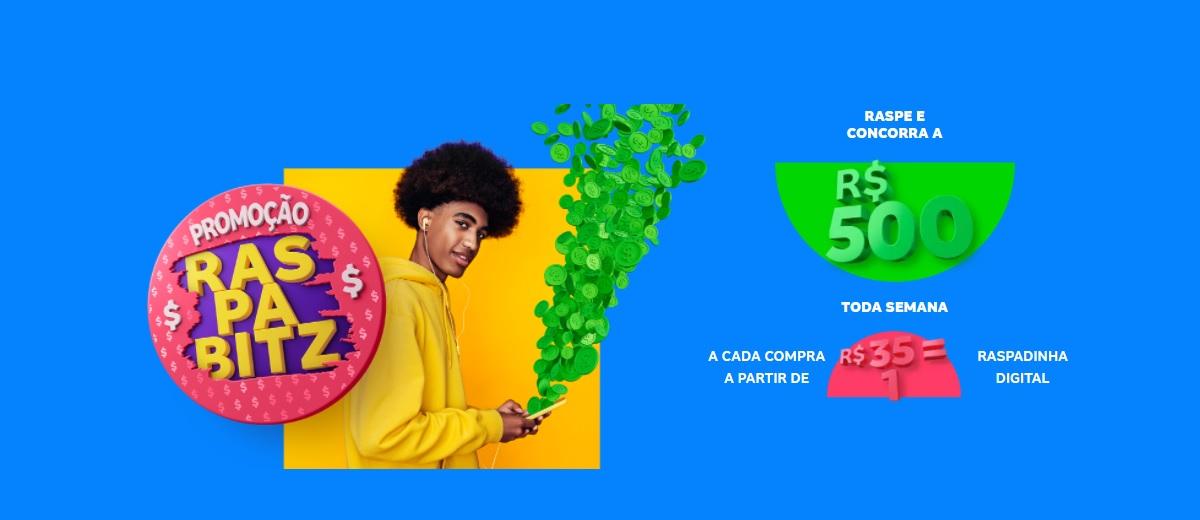 Promoção RaspaBitz 2021 Prêmios 500 Reais Toda Semana