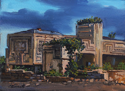Plein air oil painting of the  Walter Burley Griffin Incinerator in Pyrmont  by industrial heritage artist Jane Bennett