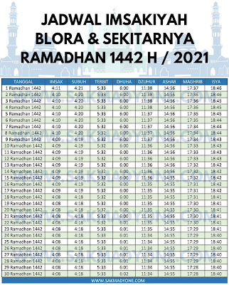 Jadwal imsakiyah ramadhan 2021 blora