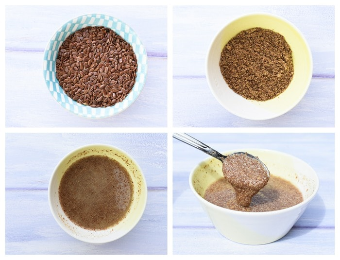 Step by step photos of making flax eggs