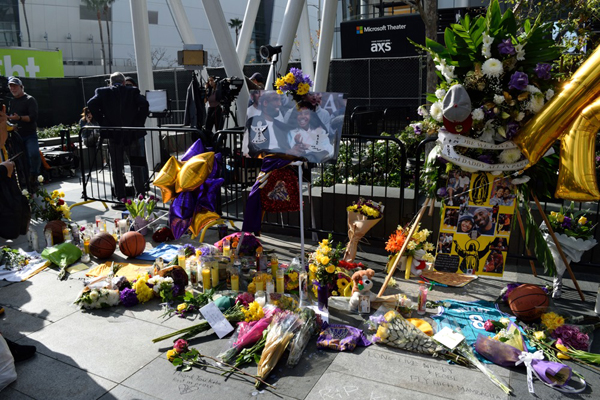 Dozens of memorials were set up at L.A. Live and STAPLES Center to honor Kobe Bryant, his daughter Gigi and their seven fellow passengers...on January 27, 2020.