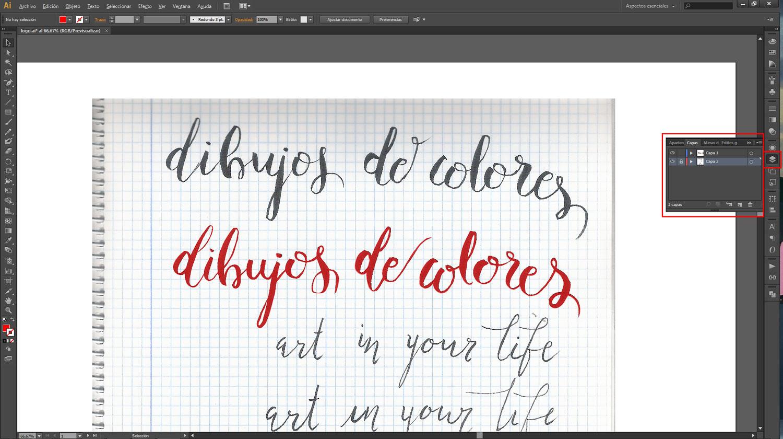 opacidad del diseño vectorizado