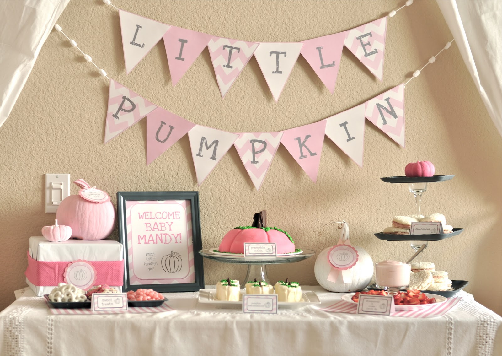 Little Girl Pumpkin Baby Shower Party Ideas