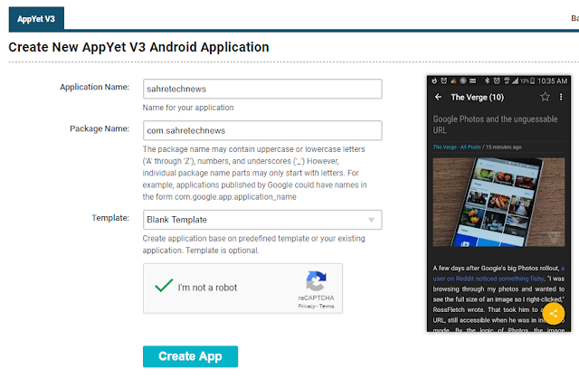Memberi nama aplikasi AppYet
