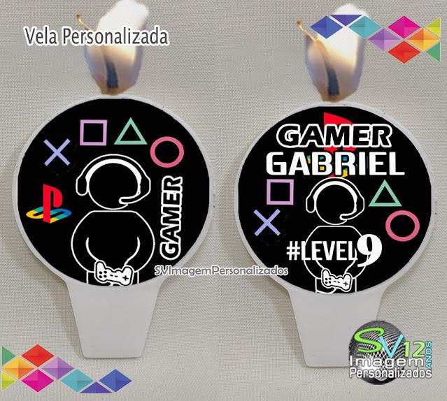 Festa Game Playstation dicas e ideias para decoração de festa personalizados vela personalizada