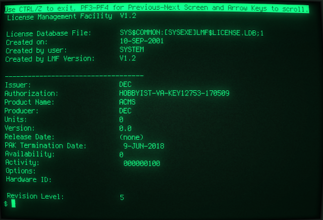 Supratim Sanyal's Blog: OpenVMS VAX License PAK