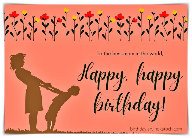 Mom, Mother, Birthday card, Happy Birthday,