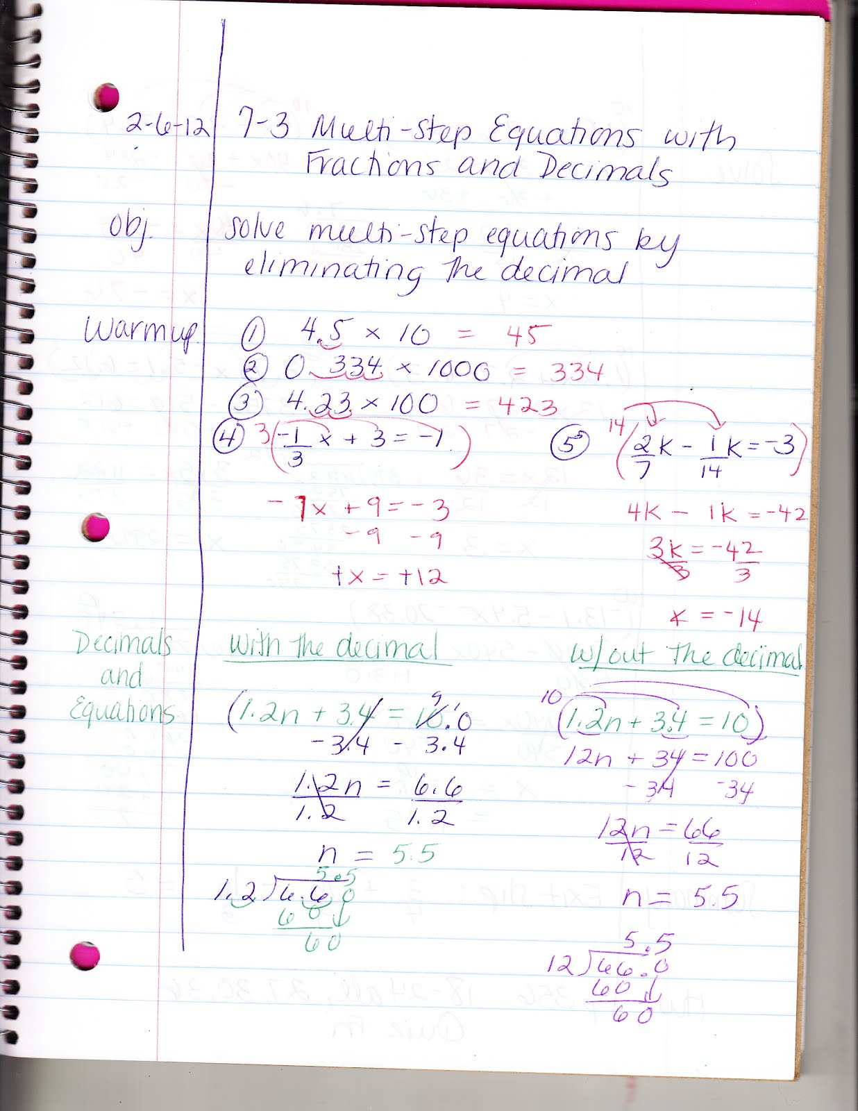 Ms Jean S Classroom Blog 7 3 Solving Multi Step Equations With Fractions And Decimals
