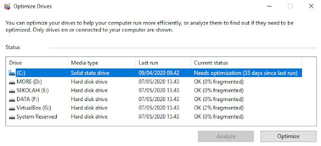 Perbedaan dari Fragmentasi HDD dan SSD