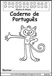 Capa caderno de português-mascote