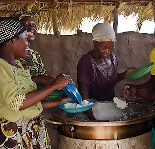 Making rice for the village in Togo Africa.