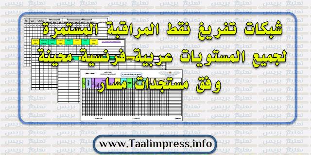 شبكات تفريغ نقط المراقبة المستمرة لجميع المستويات عربية فرنسية محينة وفق مستجدات مسار