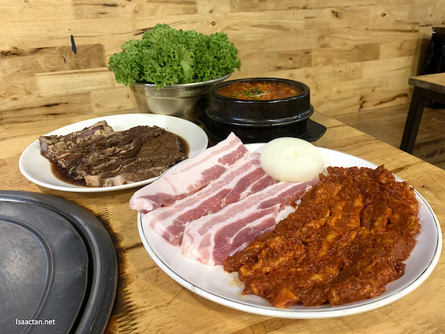 Pork belly slices, spicy pork belly, specially cured pork ribs and kimchi soup