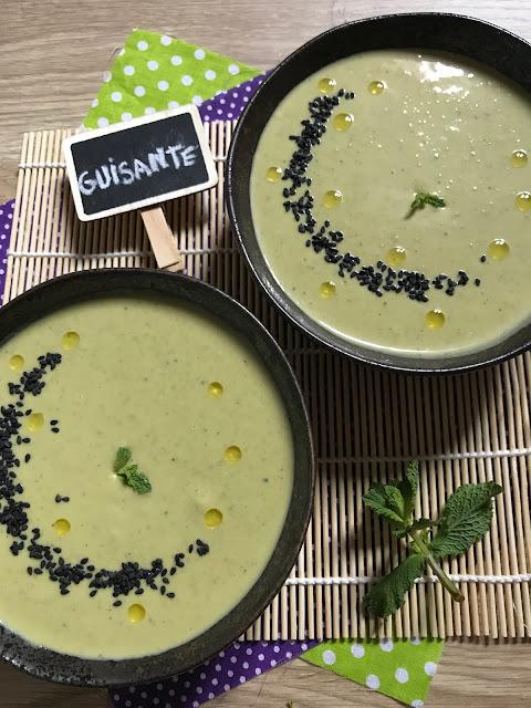 crema fría de guisantes con hierbabuena receta