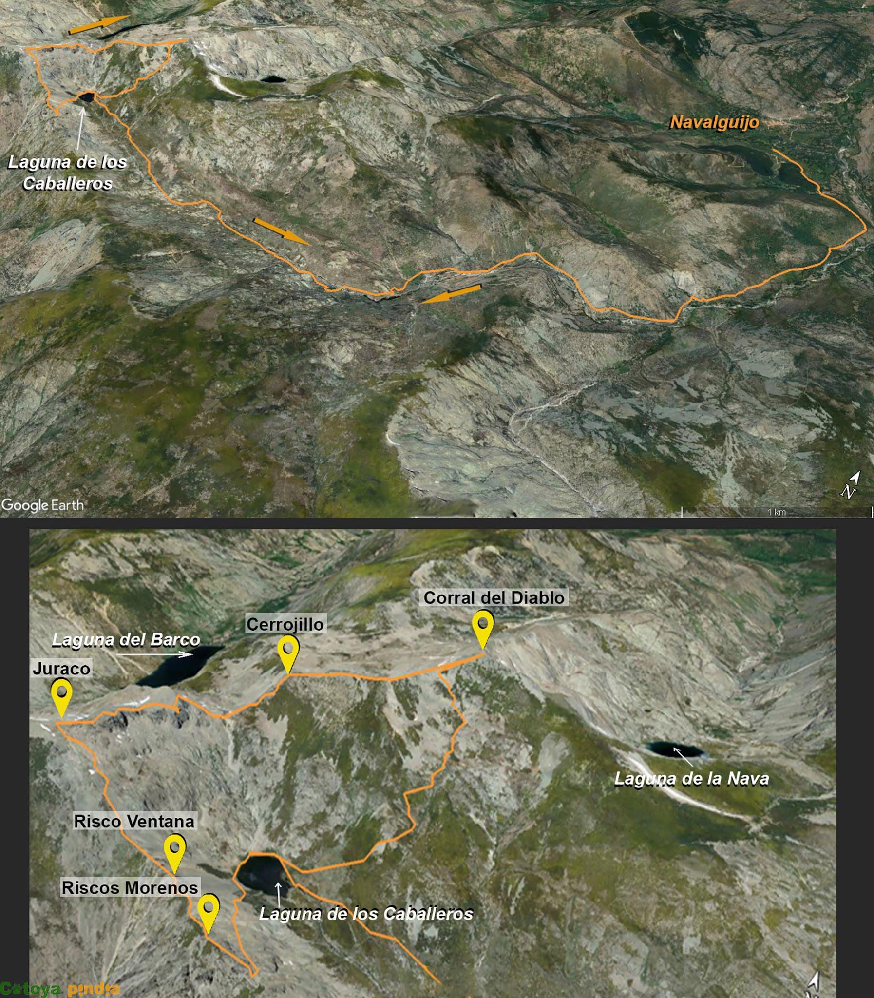 Mapa de la ruta a la Laguna de los Caballeros, Riscos Morenos, El Juraco y el Corral del Diablo
