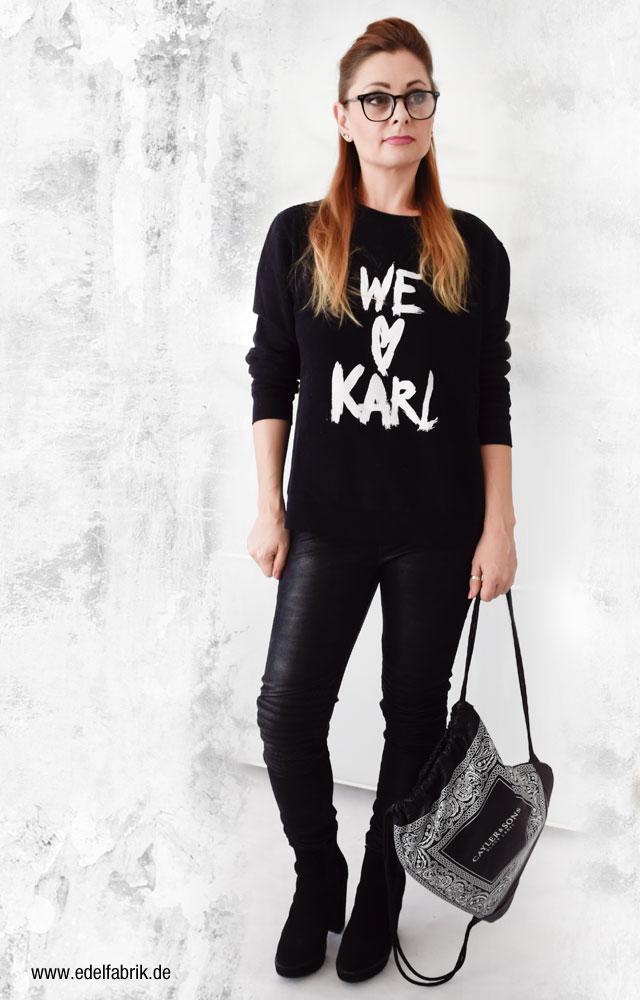 schwarzes Karl Lagerfeld Sweatshirt, Ü40 Mode