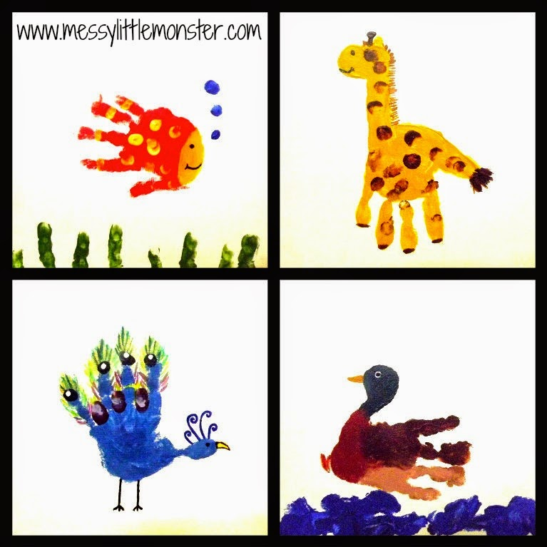 Handprint Animal Canvas Gifts Messy Little Monster